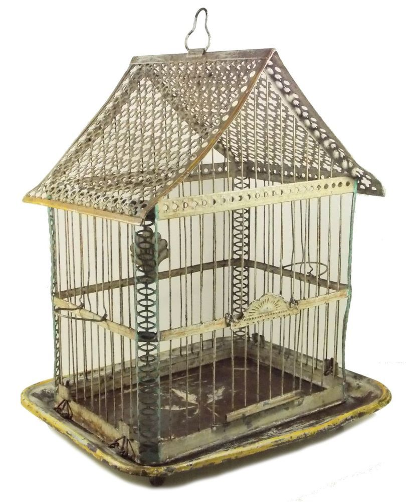 Antique Wire Bird Cage A Frame Charming!!!