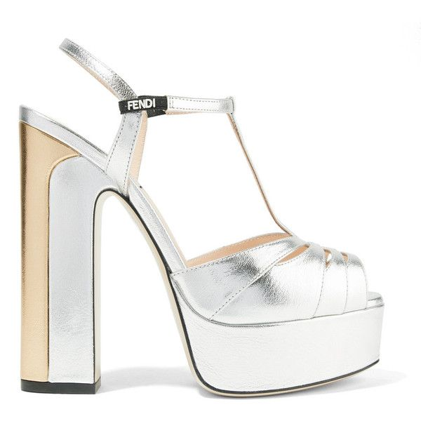 258995869330b5 Fendi Fendi - Two-tone Metallic Leather Platform Sandals - Silver ( 940) ❤  liked on Polyvore featuring shoes