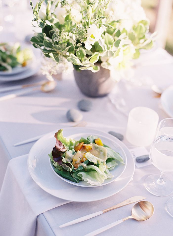 Such a delicious looking salad with beautiful grey and white linens and the prettiest gold and white flatware!
