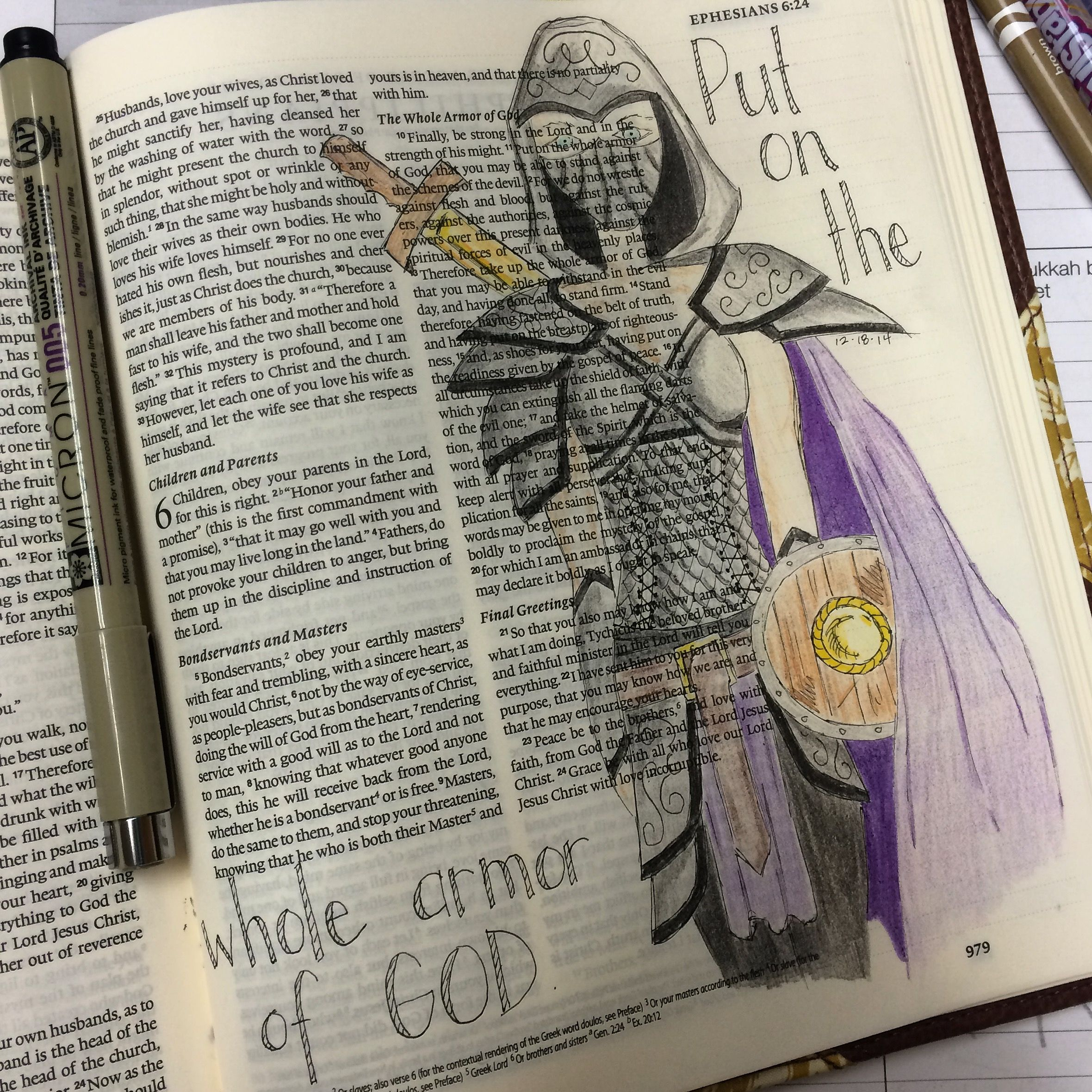 Journaling Bible Illustrated faith Ephesians 6:11  Put on the whole armor of God
