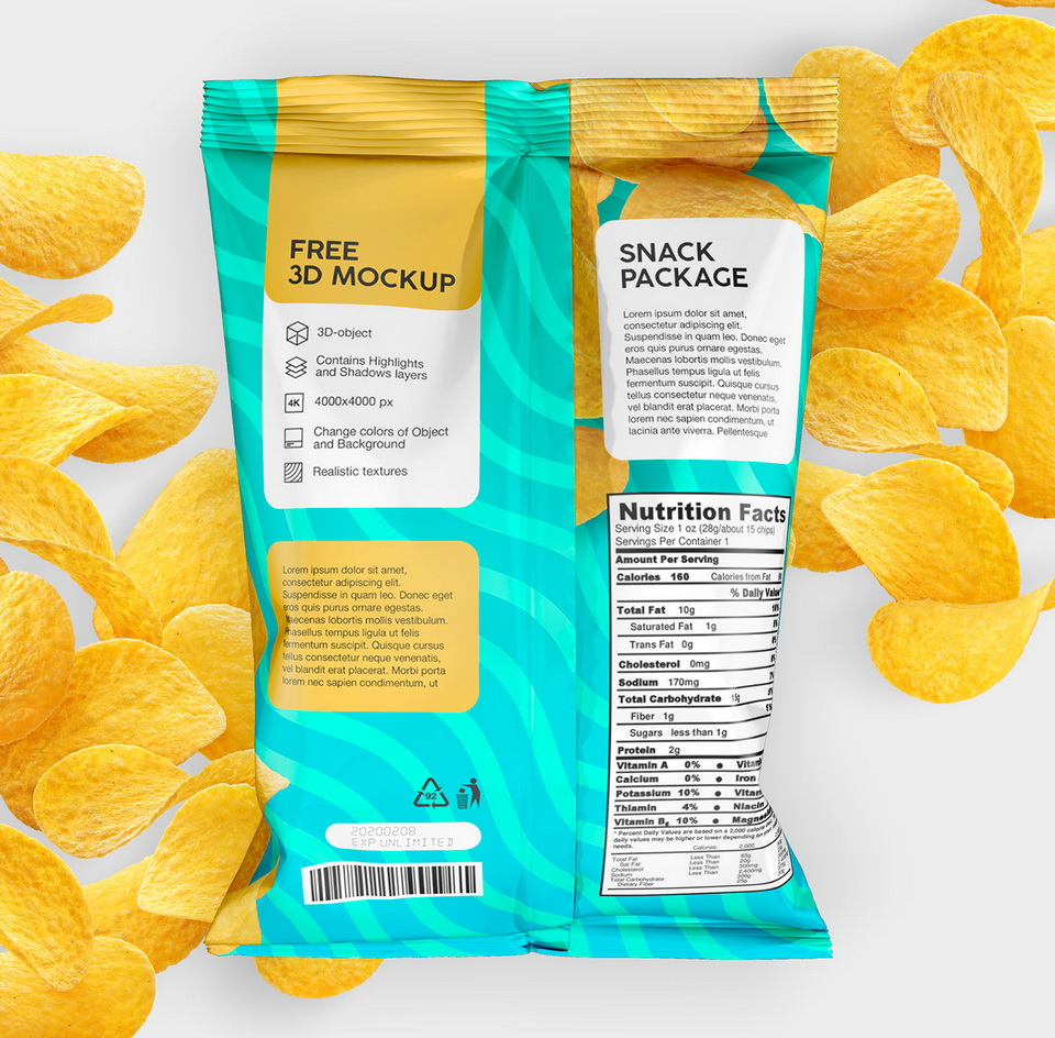 11086+ Bag Of Chips Mockup Free Yellow Images Object Mockups