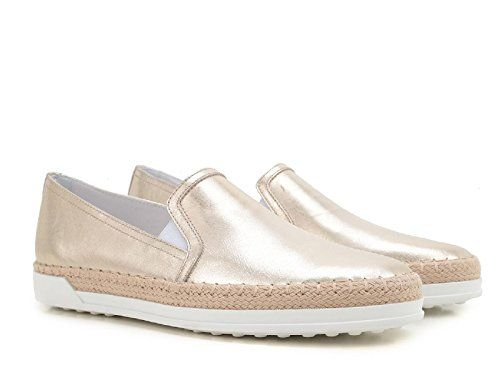 Tod's Women's Gold Laminated Calf Leather Slip-ons Shoes ...