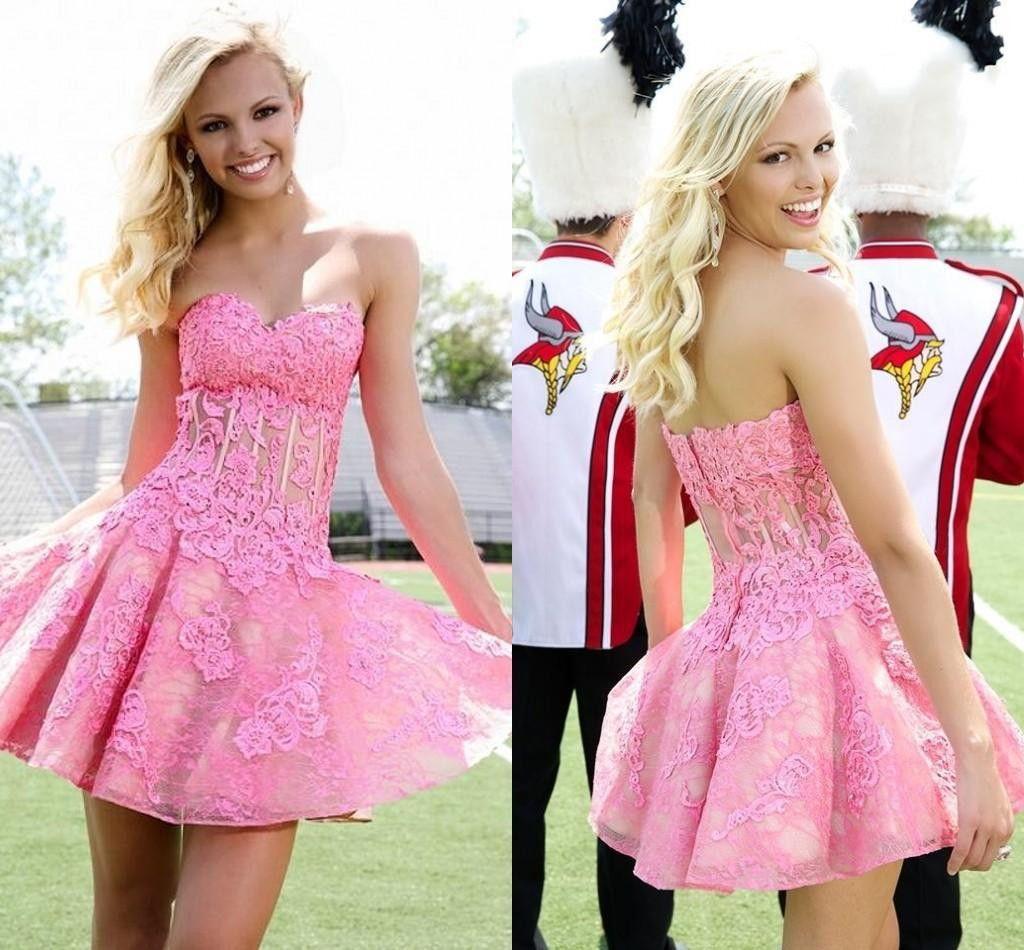 2017 Homecoming dress,Short prom Dress,hot pink lace Prom Dresses ...