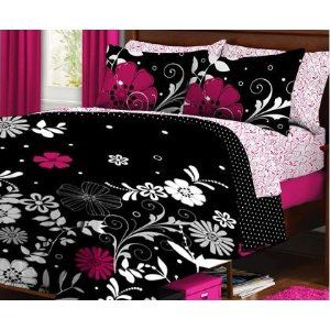 Black Pink White Flower Dorm Twin Xl Comforter Set Bed In A Bag