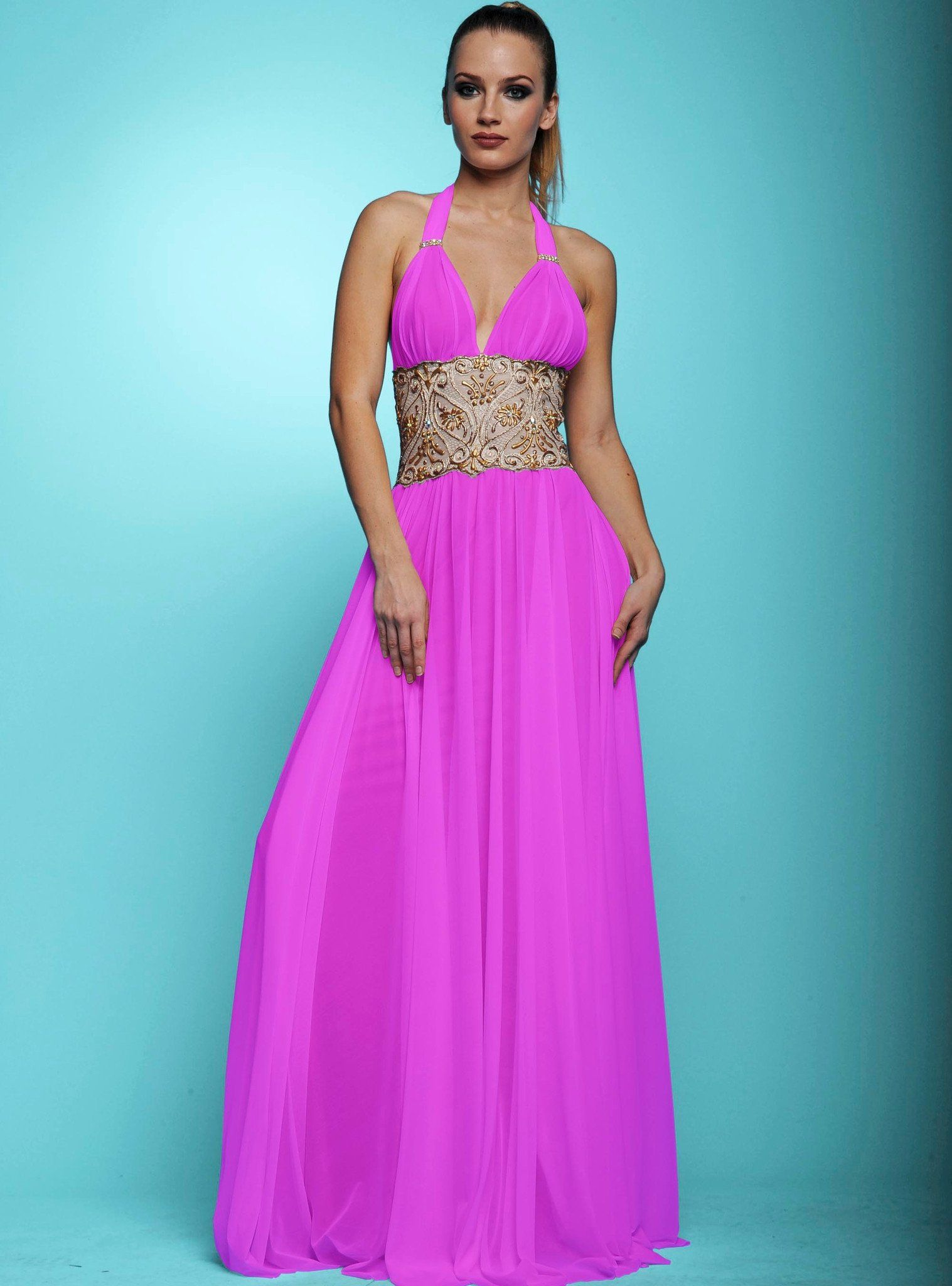 Karen Pink Mesh Painted Baccio Couture Long Dress | Products