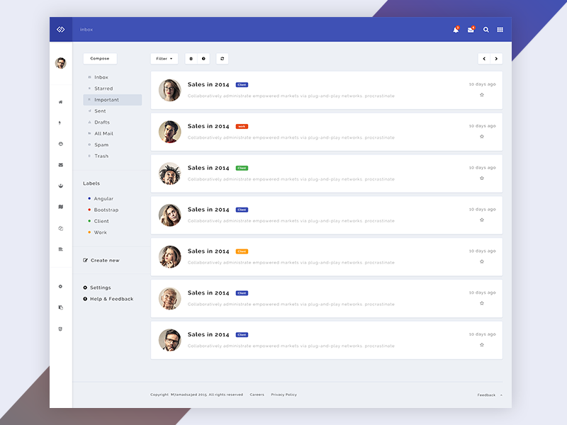 Infinity - Web Application Kit - Inbox page by Mohamed Said | Mobile ...