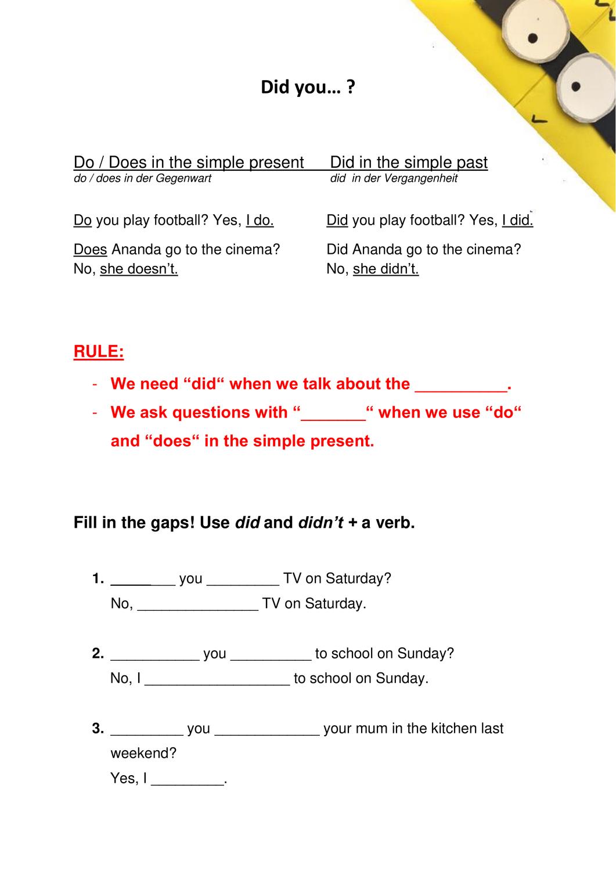 Simple Past Bildung Ubungen Beispiele 6