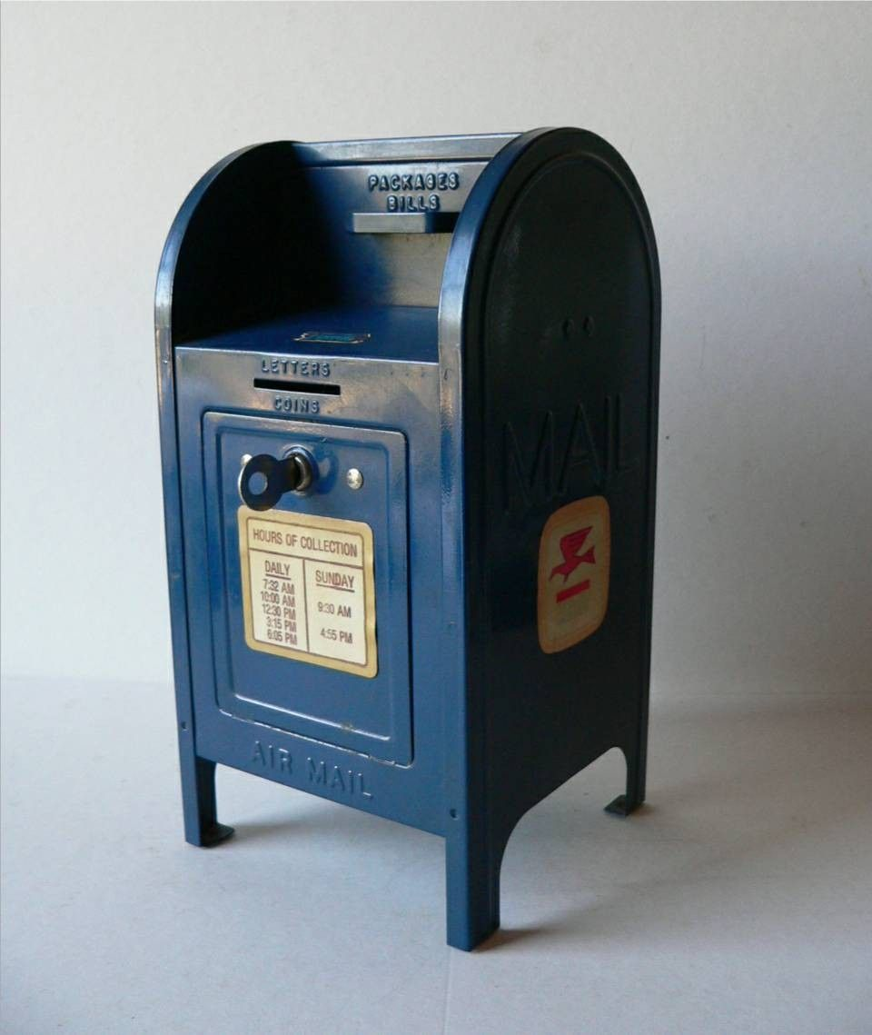 Vintage Metal Toy Mailbox Coin Bank With Key Old Mailbox