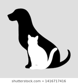 Silhouette Cat Dog On White Background Stock Vector Royalty Free 671156590 Pet Logo Design Wolf Character Dog Cat