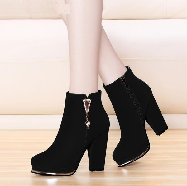Suede Chelsea High Heel Mid Calf Boots Shoes