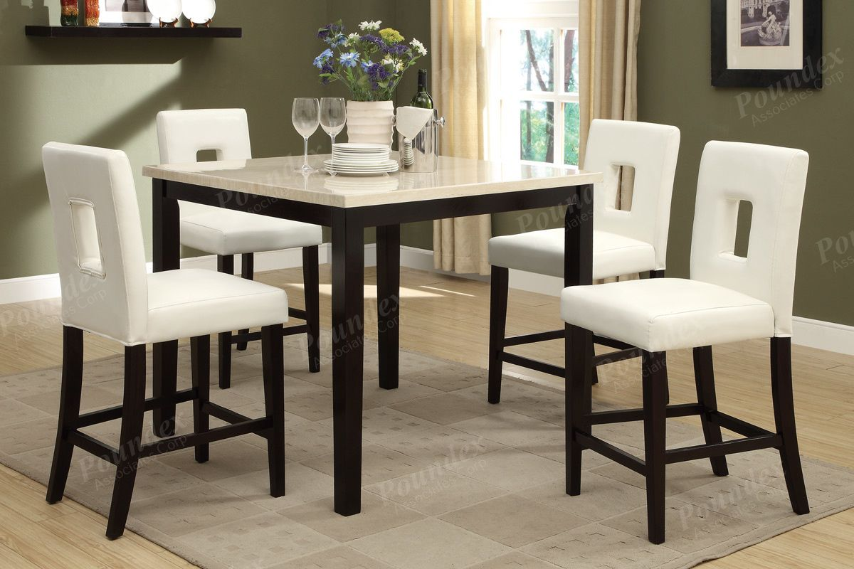 5 Pc Square Cream Faux Marble Espresso Finish Wood Counter Height Dining Table Set With Cream Counter Height Dining Table Set Counter Height Table Dining Table