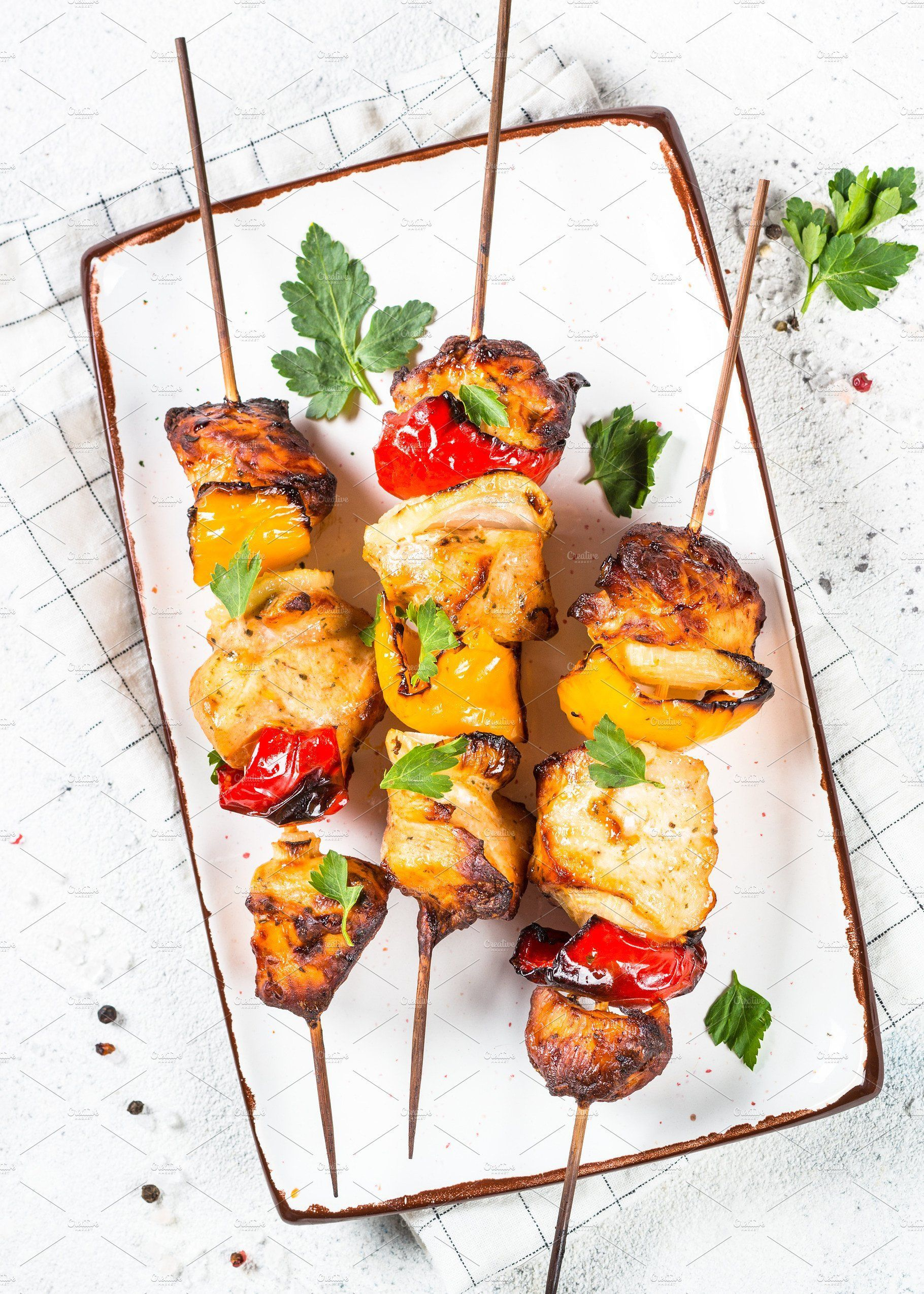 Chicken Kebab Or Shashlik With Vegetables On White Stone Table Barbeque Dish Top View Photography Summer Food Background Cuisine Gourmet Homemade Cooking Lun