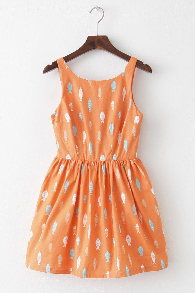 9be0d8781a8 Back in Stock Playful Fish Print Cute Retro Sundress