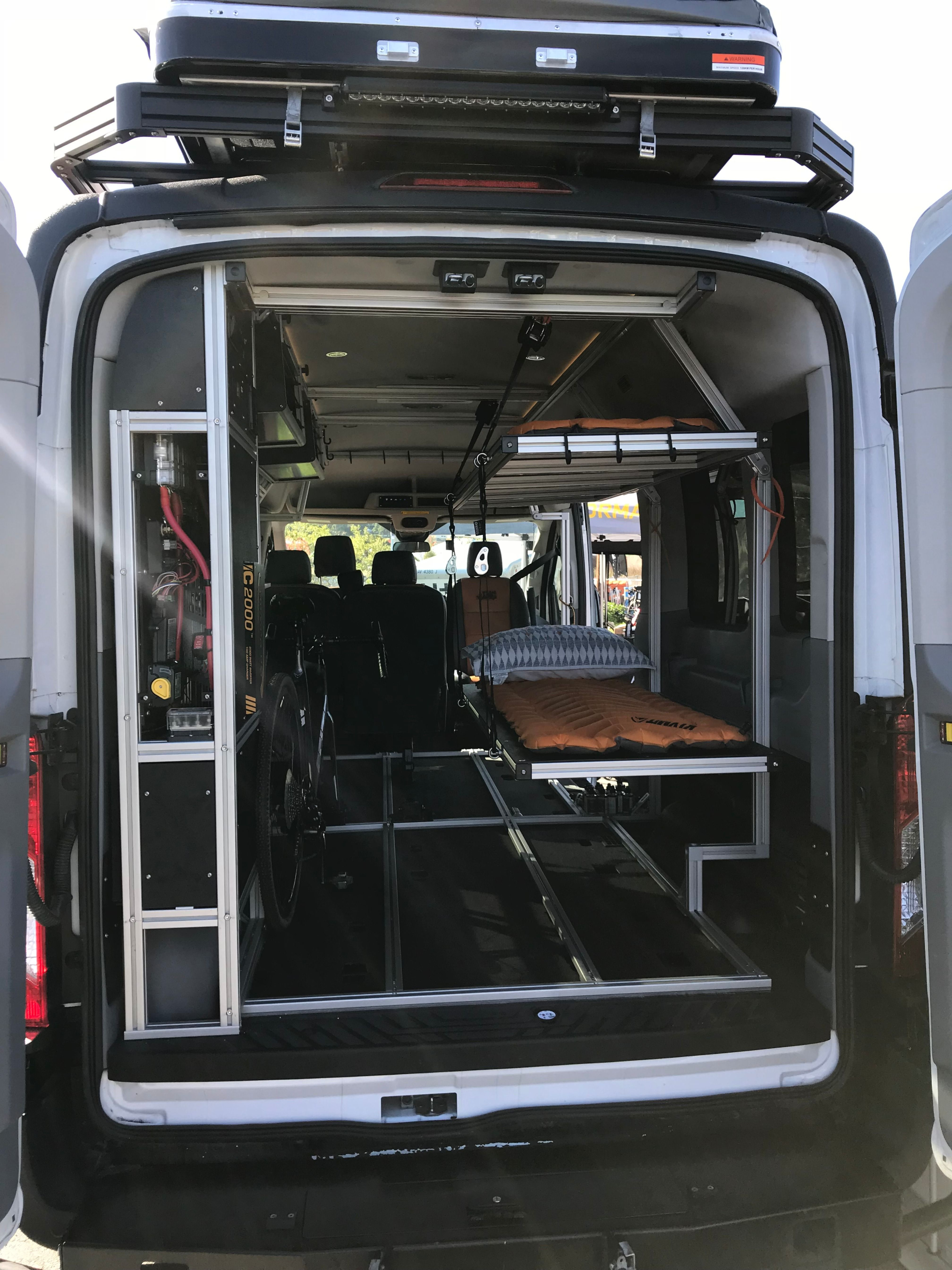 Vandoit S Do Model Is Like A Transformer With Its Drop Down Height Adjustable Bed Platforms And Ttrack Skelet Ford Transit Ford Transit Camper Transit Camper