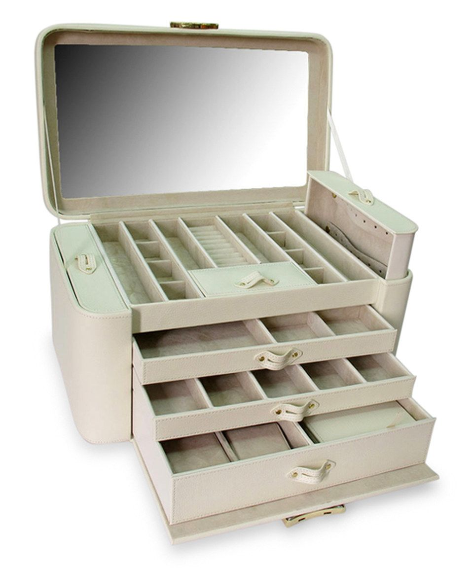 Loving this Cream Alexis Leather Two-Side Pullout Jewelry Box on #zulily! #zulilyfinds
