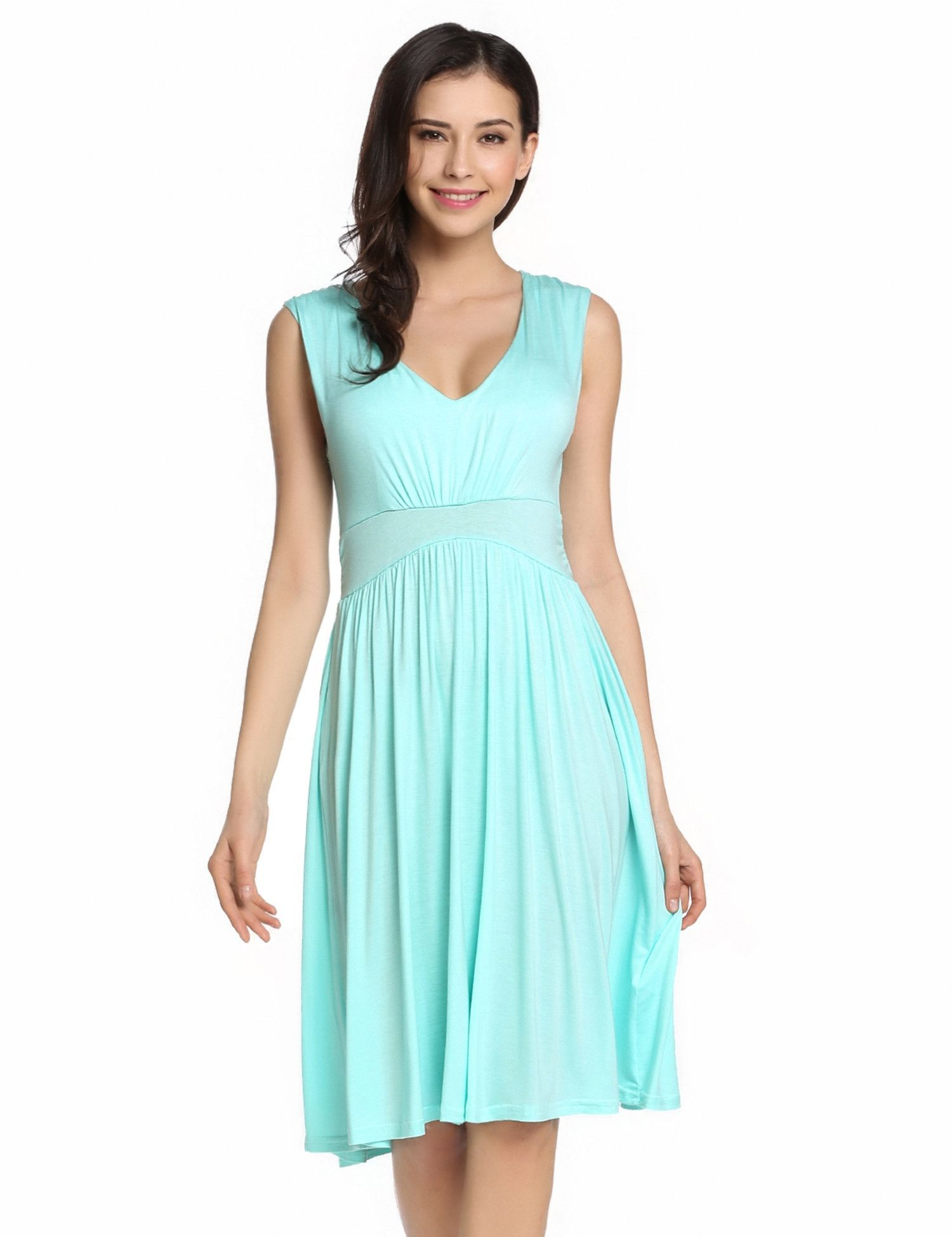 Light blue V-Neck Sleeveless Solid Fit and Flare Casual Dress ...