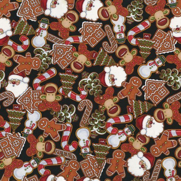 HOLLY JOLLY Dan Morris Christmas Santa Elf Shelf Cookie Gingerbread House BTY #RJRFabrics