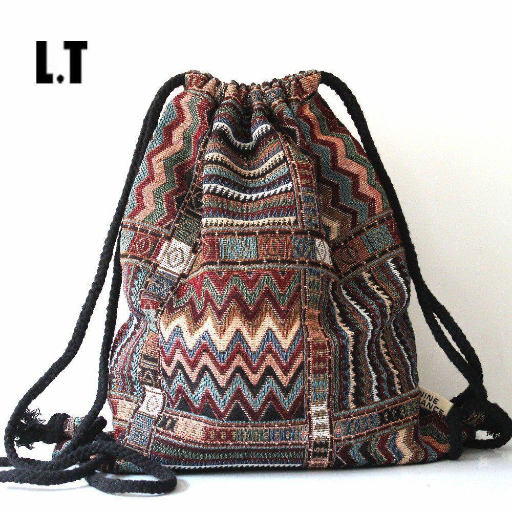 2016 Women Vintage Backpack Gypsy Bohemian Boho Chic Hippie Aztec Folk  Tribal Woven String Backpack Female Drawstring Rucksack a6223f9e7069d