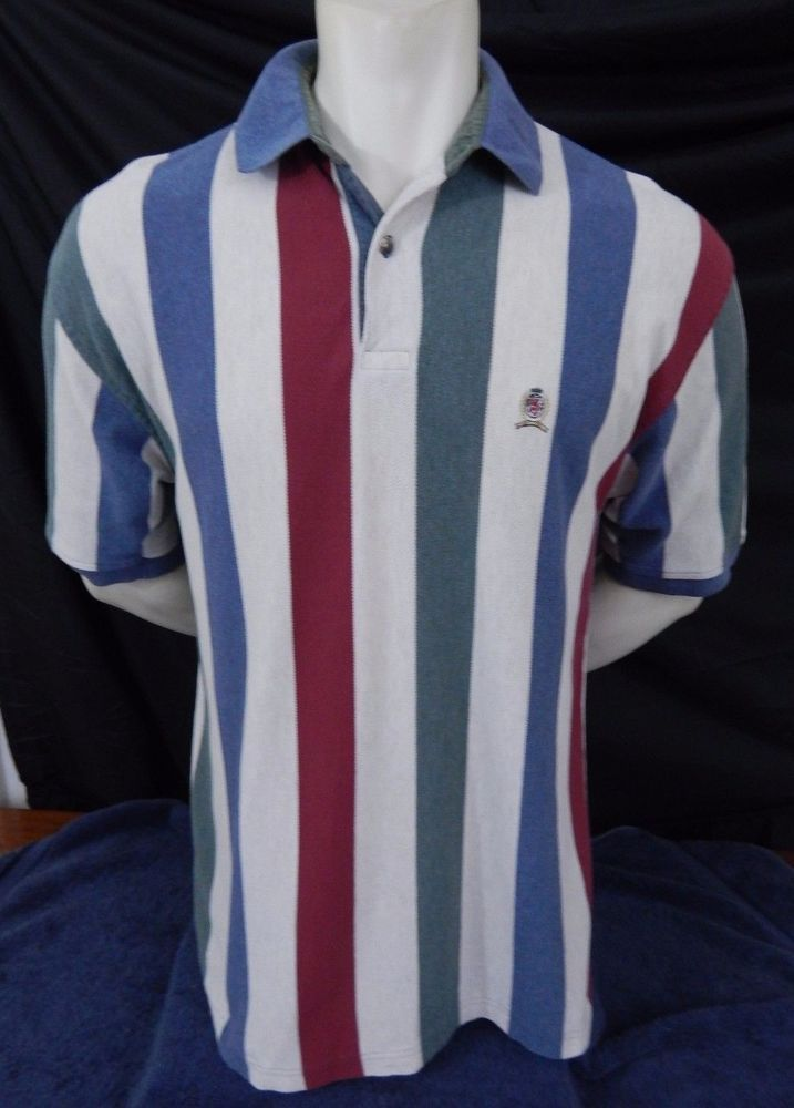 Tommy Hilfiger Polo Shirt Size L Large Striped Cotton Short Sleeve #TommyHilfiger #PoloRugby