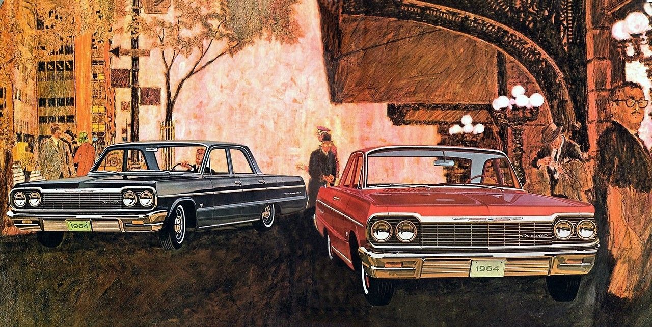 Bel Air Art 1964 Brochure Illustration Red Car