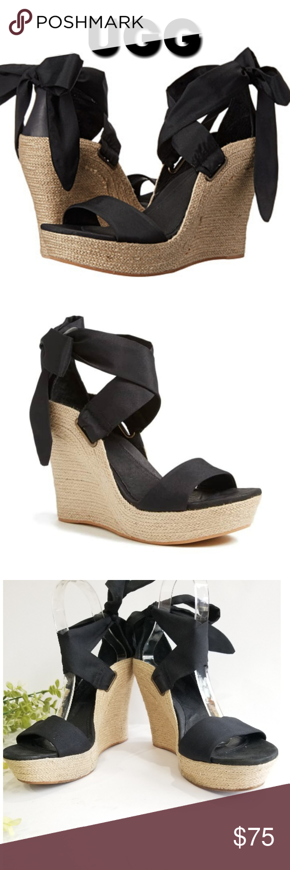 680e760e41ad UGG Jules espadrille wedge black tie Heel sandal 8 UGG 🖤 great condition