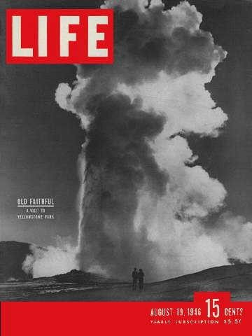 """Yellowstone Park - Life Magazine, August 19, 1946 issue - Visit http://www.oldlifemagazines.com/the-1940s/1946/august-19-1946-life-magazine.html to purchase this issue of Life Magazine. Enter """"pinterest"""" for a 12% discount at checkout - Yellowstone Park"""