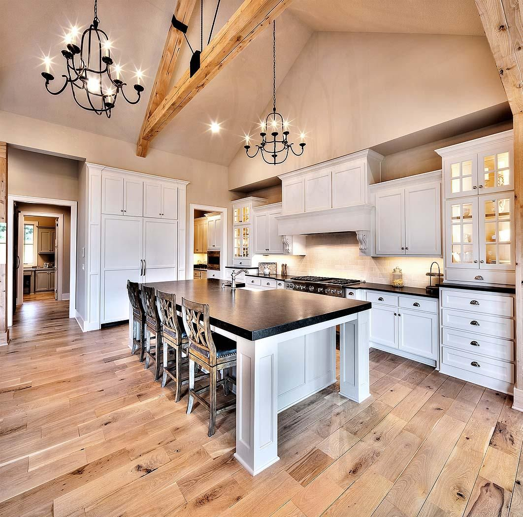 White and light rustic wood floors Kitchen