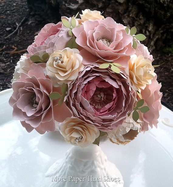 Paper Flower Bouquet Shabby Chic Wedding by morepaperthanshoes ...
