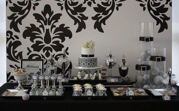 Muito El estampado blanco y negro para fondo de mesa dulce. | formatura  IP57