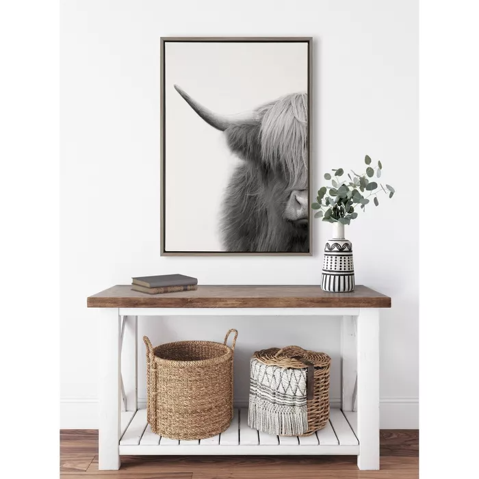 23 X 33 Sylvie Highland Cow Crop Framed Canvas Wall Art By The Creative Bunch Studio Gray Kate And Laurel Cow Wall Decor Wall Canvas Framed Canvas Wall Art