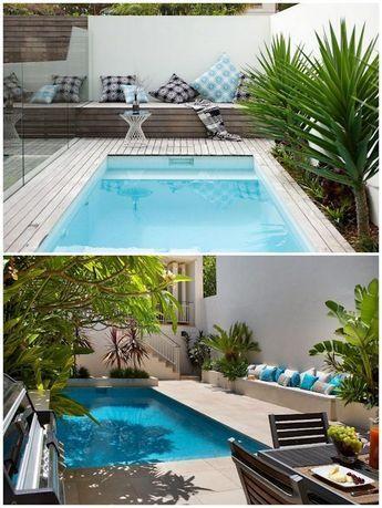 Dos jardines pequeños y modernos con pileta Backyard
