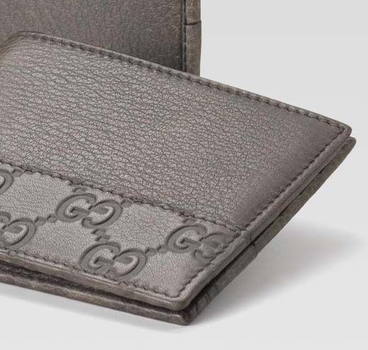 168735d2e659 GUCCI MEN | Gucci men's grey leather bi-fold wallet | Men's Accessories If  you love fashion check us out. We're always adding new products for your  closet!