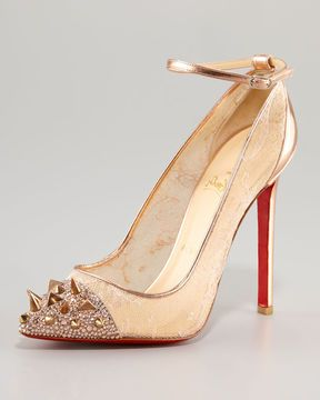 fc6283c741338 ShopStyle: Christian Louboutin Picks & Co Potpourri Spiked Toe & Lace Red  Sole Pump