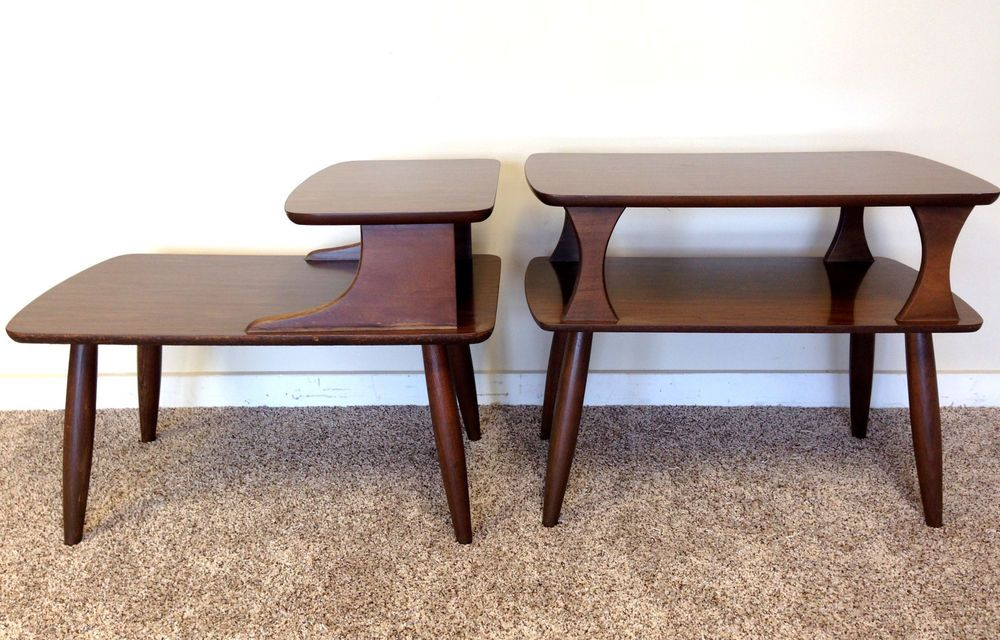Mid Century Modern End Table Set Of 2 Step Table 2 Tier Walnut