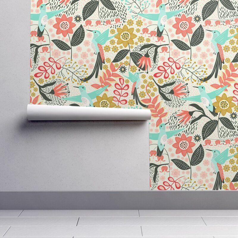 Bungalow Rose Tonnele Hummingbird Removable Peel And Stick Wallpaper Panel Wayfair Peel And Stick Wallpaper Hummingbird Wallpaper Wallpaper Panels