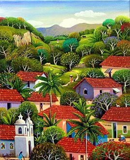 El Salvador Fausto Perez Sunday Morning Naive Art El Salvador Art Latin American Art
