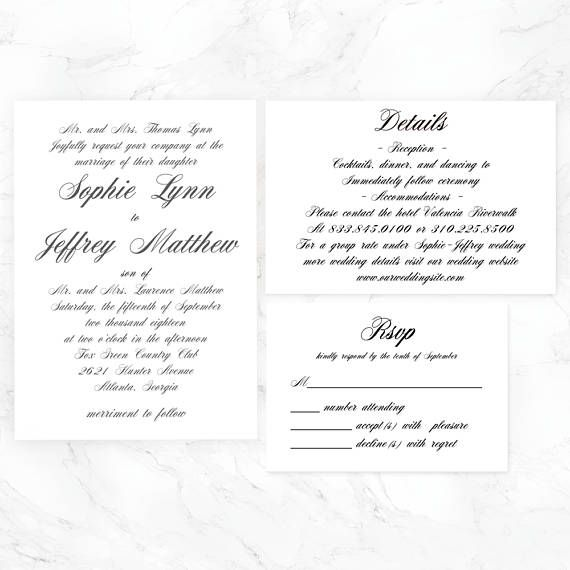 Wedding Invitation Template, Instant Download,pdf,cheap,Formal
