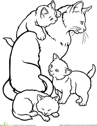 Color The Mommy Cat And Kittens Worksheet Education Com Kittens Coloring Kitten Drawing Animal Coloring Pages