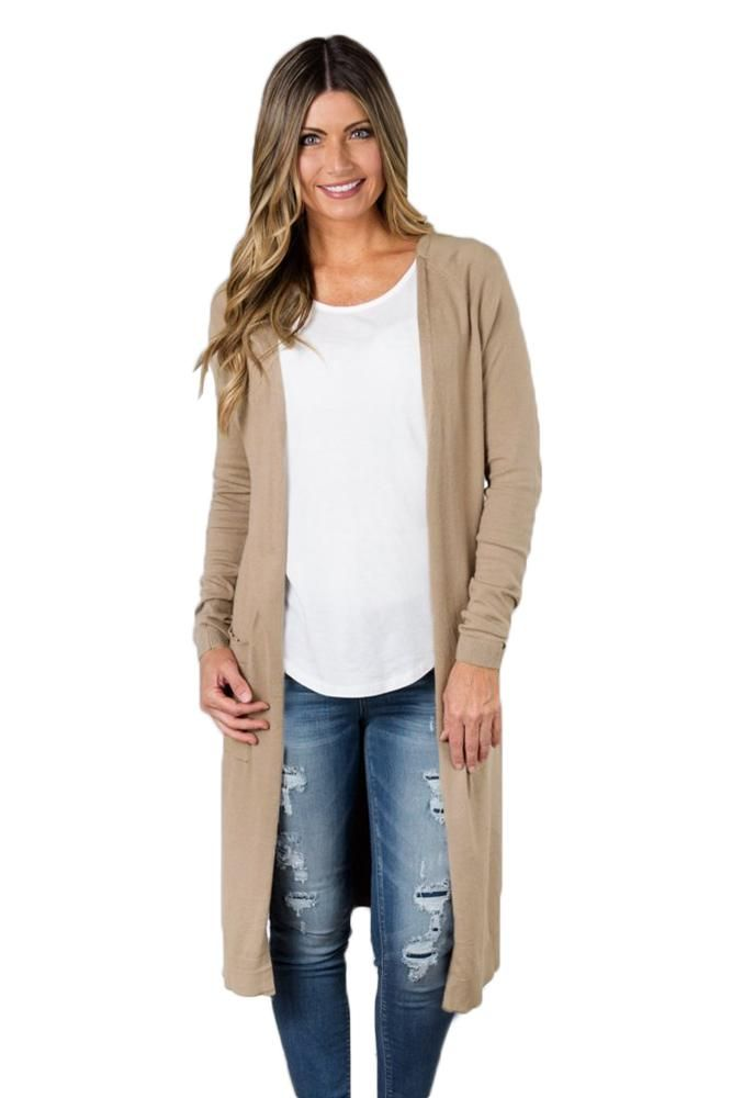 1043f3f71d Casual Khaki Side Slit Long Knitted Cardigan