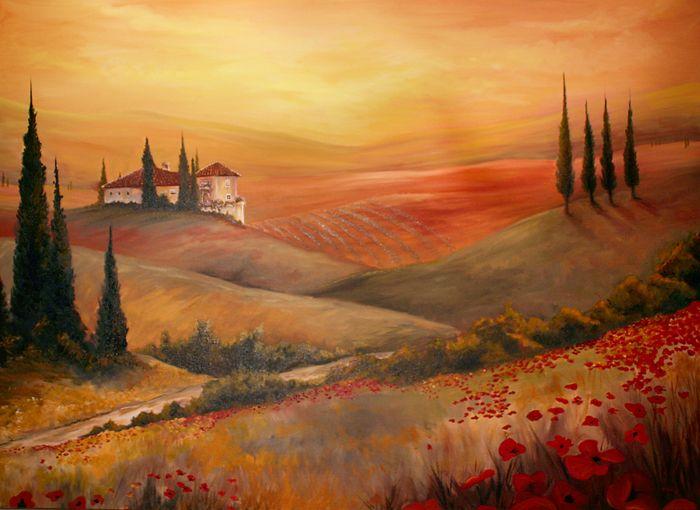 Tuscan Oil Painting By Teach Deviantart Com Landscape Paintings Tuscan Art Tuscany Landscape