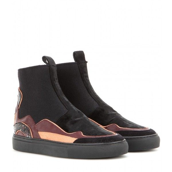 aaa49acf55b Velvet and leather high-top slip-on sneakers Dries Van Noten (4