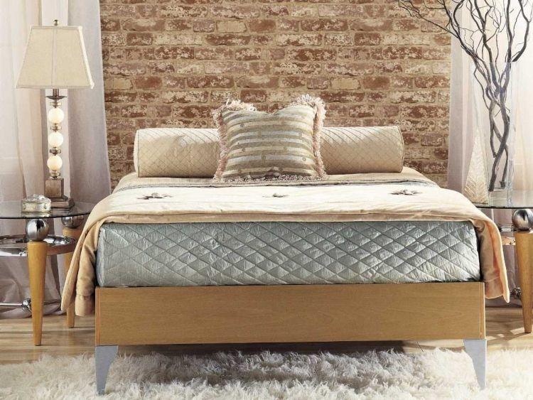 Schlafzimmer mit Backstein Tapete an der Wand hinter dem Bett - tapete für schlafzimmer