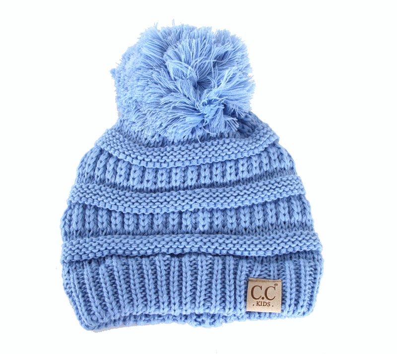 24ae2f1584f2d C.C. Beanie Cable Knit Beanie with Pompom for Kids in Light Blue  YJ847POM-LTBLUE
