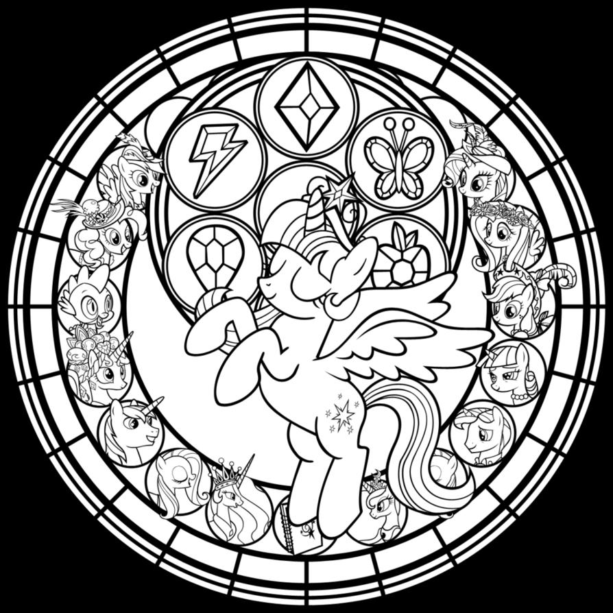 Commish Princess Twilight StainedGlass line art by AkiliAmethyst