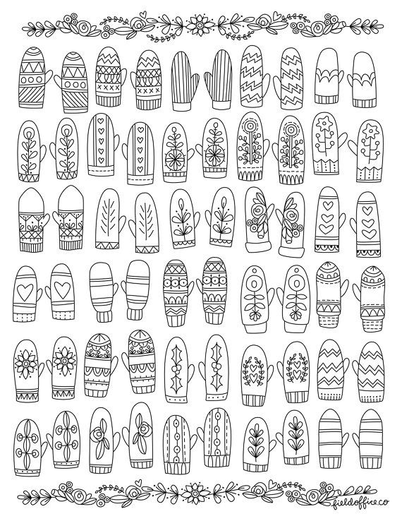 Coloring Page Winter Mittens Coloring pages winter