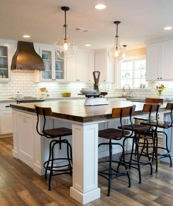 Long And Narrow But 3 Sides Seating Kitchen Island Designs With