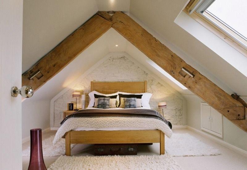 Schlafzimmer im modernen Landhausstil gestalten spitzboden - dachschrge gestalten schlafzimmer