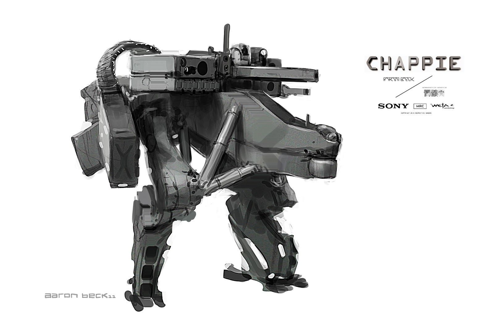 I didn't get a chance to do a whole lot on Chappie due to other projects, and the only stuff of mine in the Art Of book, and therefore ok ...