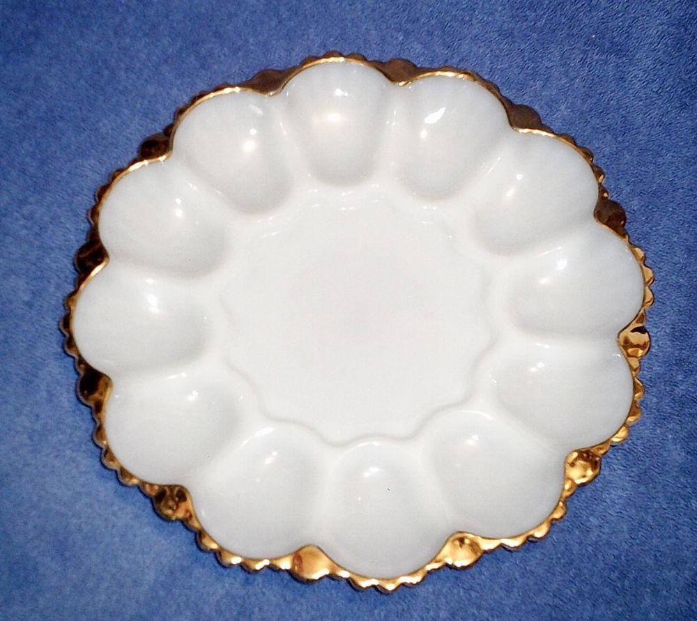 vintage anchor glass deviled egg plate white gold trim king