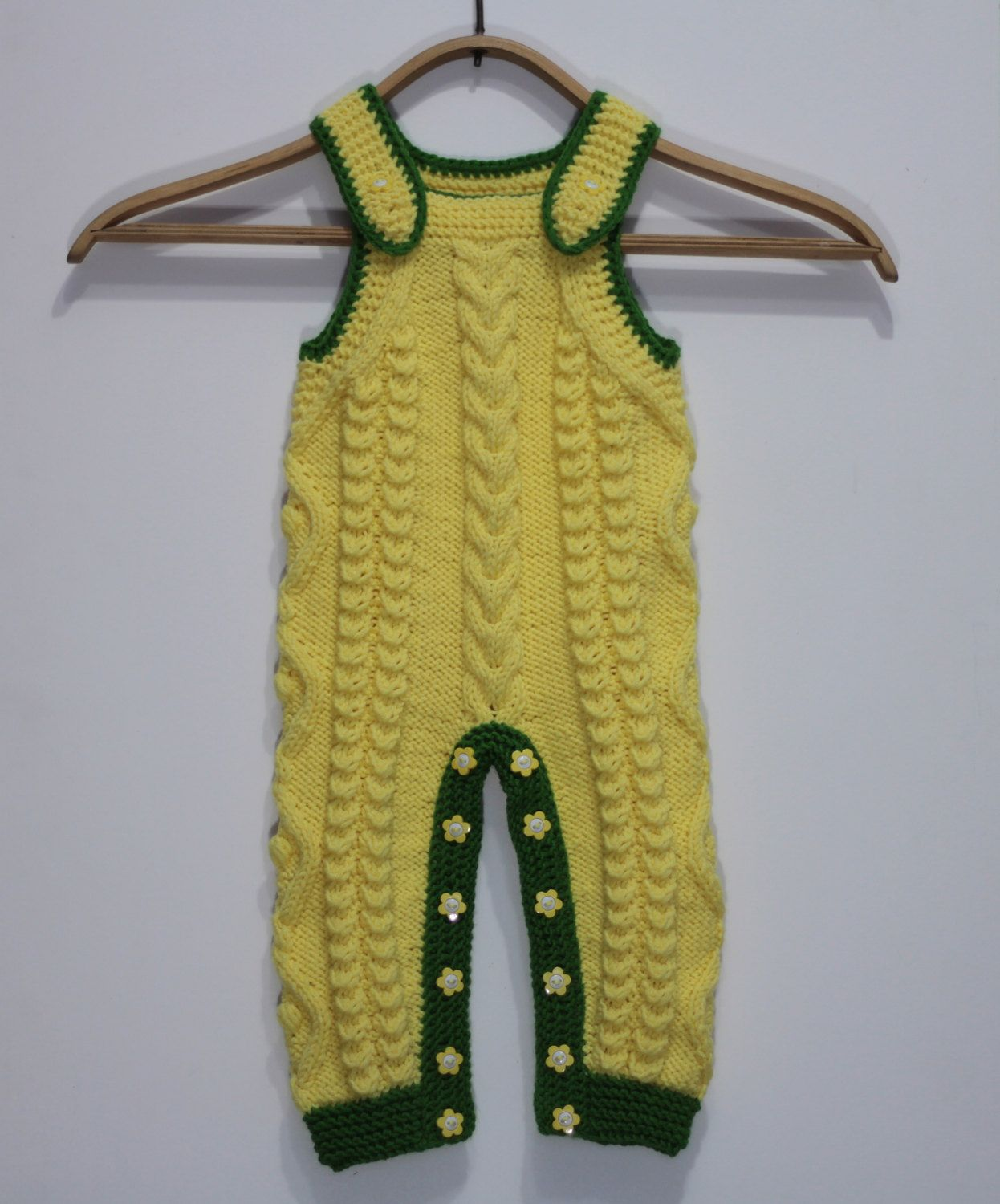 Knit baby romper - knitted yellow jumpsuit - toddler all in one - knit baby jumpsuit - yellow green knitted rompers by FluffyShursh on Etsy